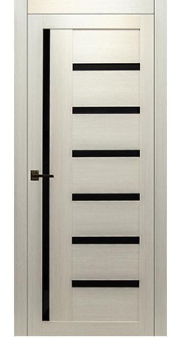 Дверь КЛ 17\1 лиственица белая\ черное стекло
